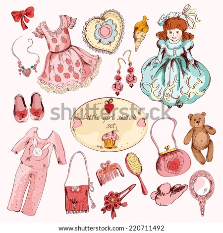 Little girl pink room accessories belongings set with dress toy bear doll abstract sketch  doodle vector illustration - stock vector