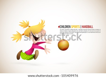Little Girl PLaying Handball | EPS10 Vector Background | Layers Organized and Named Accordingly - stock vector