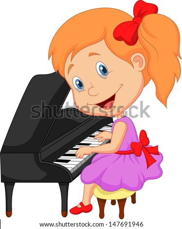 Little girl playing piano - stock vector