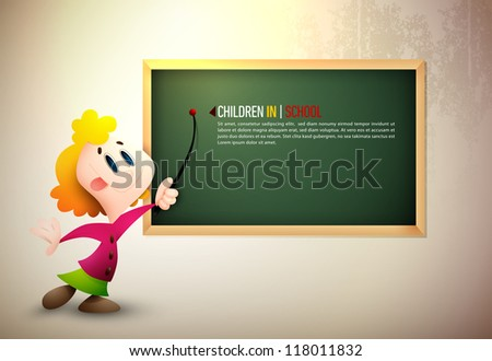 Little Girl Pointing on Board | Learning at School | EPS10 Vector Background | Layers Organized and Named Accordingly - stock vector