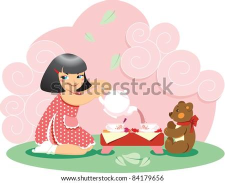 Little girl pouring tea to her teddy bear - stock vector