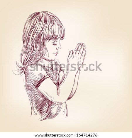 little girl praying hand drawn vector llustration realistic sketch - stock vector