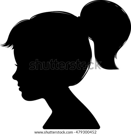 Little Girl Profile Silhouette - Vector Illustration