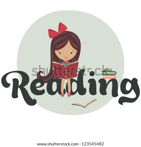 Little girl reading books - stock vector