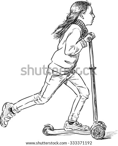 little girl rids on a scooter - stock vector