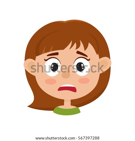 little girl scared face expression cartoon stock photo photo rh shutterstock com scared face cartoon drawing cartoon scared face images