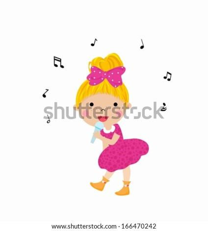 Little girl sing - stock vector