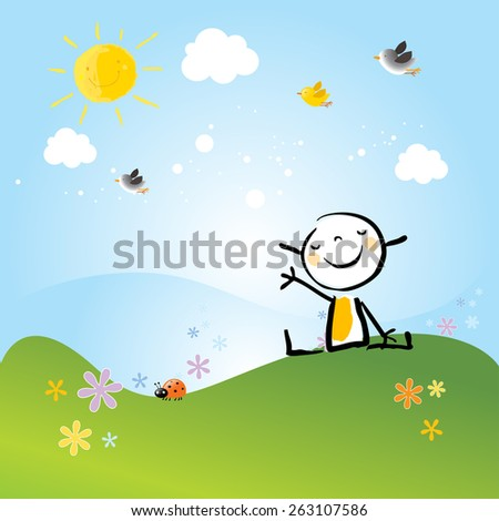 Little girl sitting on a meadow in spring scenery, landscape. Doodle, cartoon vector illustration.  - stock vector
