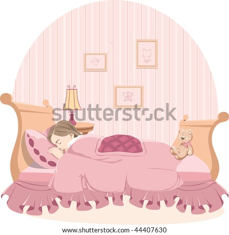 Little girl sleep in pink bedroom - stock vector
