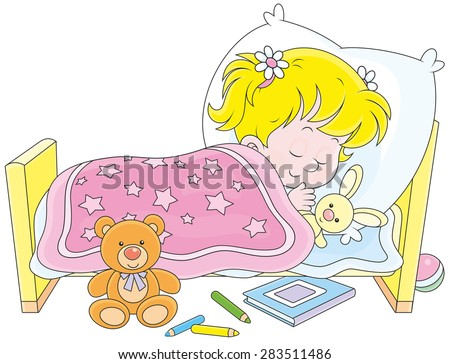 Little girl sleeping in her bed - stock vector