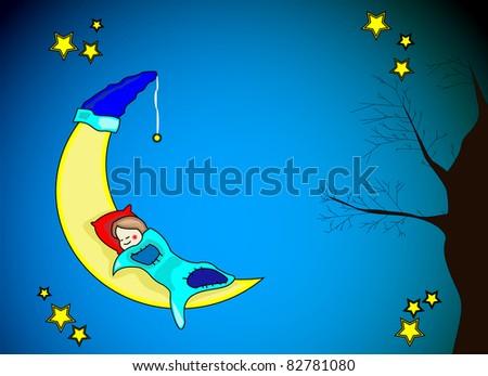 Little girl sleeping on yellow moon - stock vector