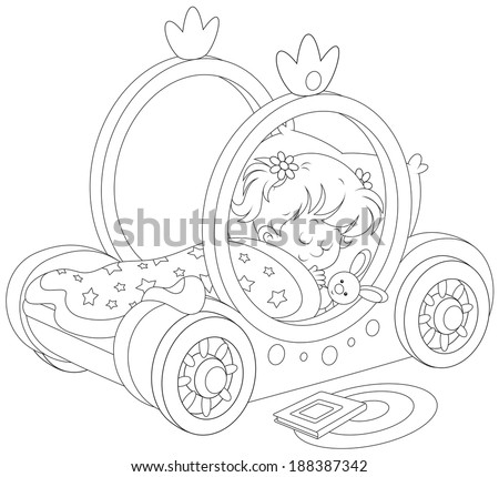 Little girl sleeps in her bed made as a carriage of a princess - stock vector