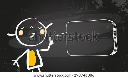 Little girl speaking a message, with blank speech balloon drawn with chalk on blackboard. Doodle, scribble style sketchy illustration, vector line art. Communication concept. - stock vector