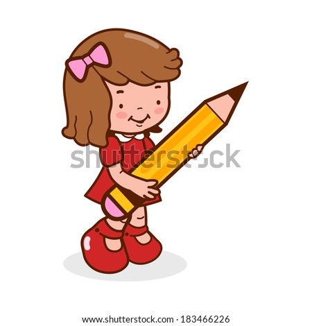 Little girl student holding a big pencil. - stock vector