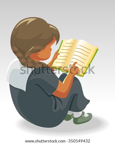 Little Girl Studying-Cute student practicing to read - stock vector