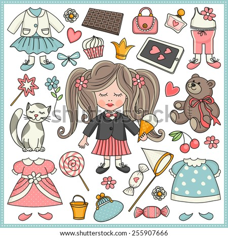 Little girl. Template greeting card or invitation. Accessories for girls. - stock vector