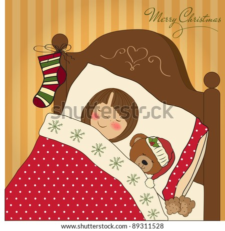 little girl waiting for Santa on Christmas Eve - stock vector