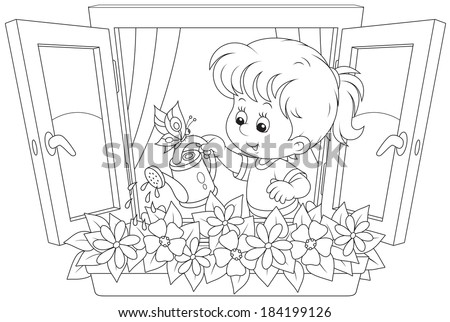 Little girl watering flowers on a windowsill - stock vector