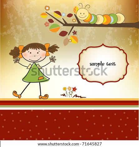little girl with caterpillar - stock vector