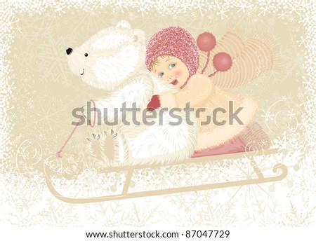 Little girl with cub polar bear sledding - stock vector