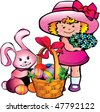 Little girl with easter bunny. Happy Easter. Vector art-illustration. - stock vector
