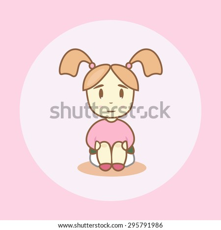 Little girl with pigtails sits on a chamber-pot - stock vector