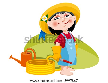 Little girl with watering can and garden hose. Vector.