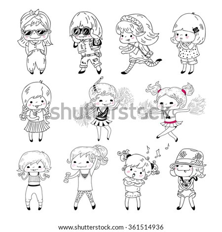 Little girls in doodle style, isolated on white background. Vector set.