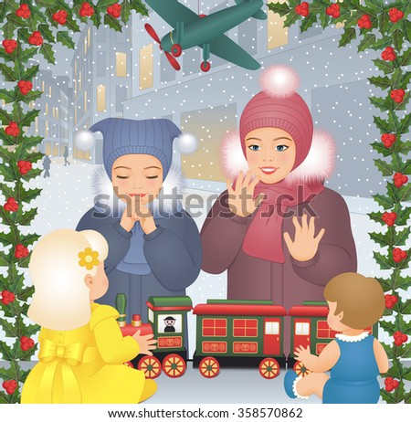 Little girls looking through a window in toyshop decorated for Christmas holidays. - stock vector