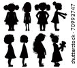 Little girls silhouettes set. - stock photo