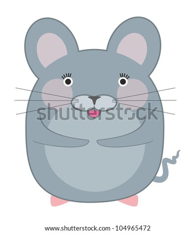 Little gray mouse - stock vector