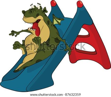 Little green dragon and children swing a hill. Cartoon - stock vector