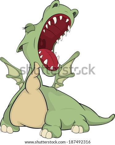 Little green dragon cartoon  - stock vector