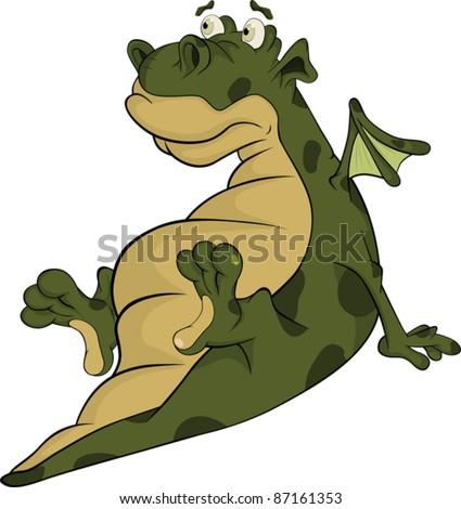 Little green dragon. Cartoon - stock vector