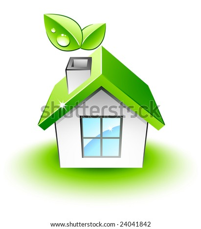 Little green house - stock vector