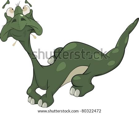 Little green lizard. Cartoon - stock vector