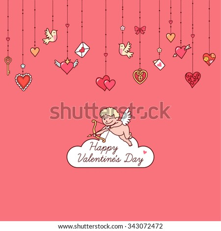 Little hanging hearts and other decorations on pink background.  Greeting card for Valentine's day.   - stock vector