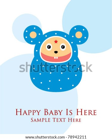 little happy baby rat doodle greeting card