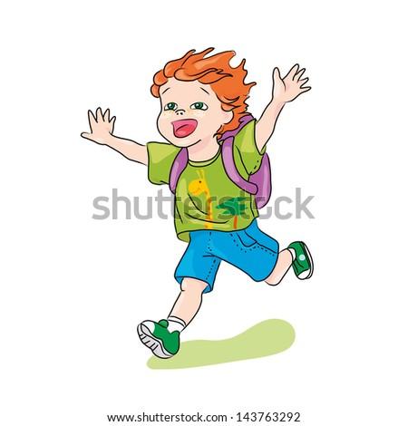 little happy running ginger boy vector illustration - stock vector