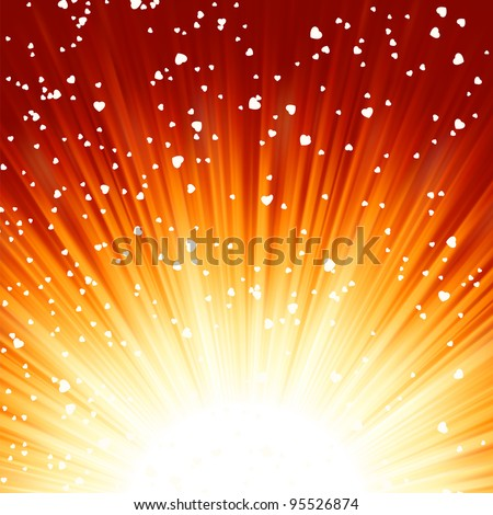 Little hearts floating on rays of light. EPS 8 vector file included
