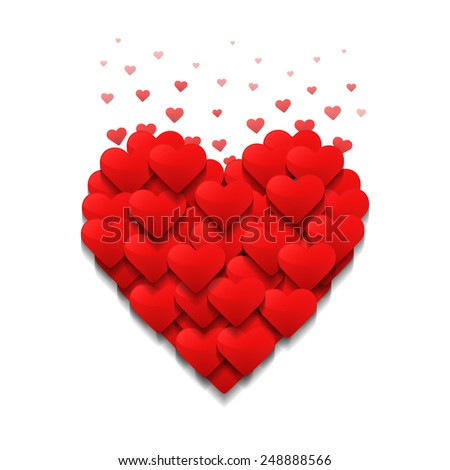 Little hearts form a big heart. Valentine's day concept. Vector design