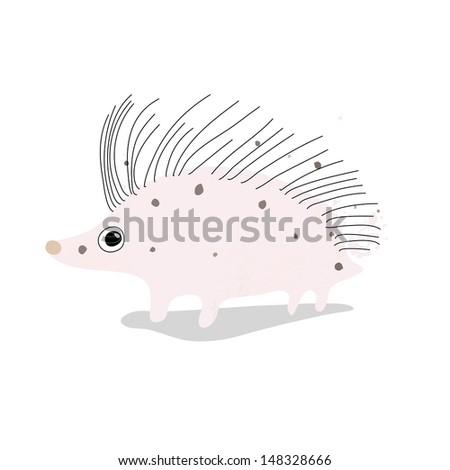 Little hedgehog. Vector art - stock vector