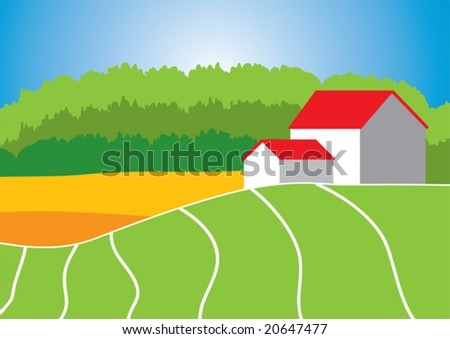 Little houses near the field with forest at background - stock vector