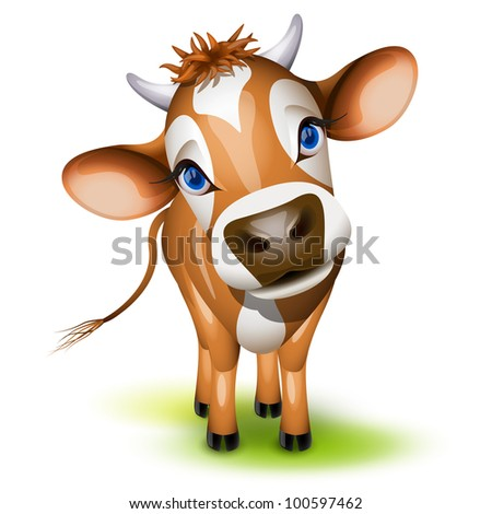 Little jersey cow with a cocked head and blue eyes - stock vector
