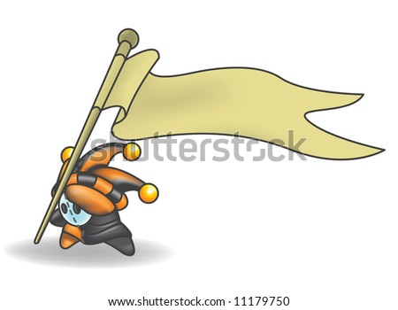 Little Jester or Joker Character holding a sign that he is sticking into the ground. - stock vector