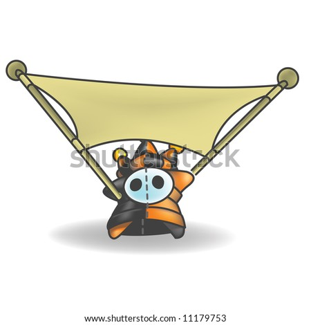 Little jester or joker character stretching out a banner. - stock vector