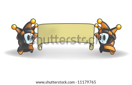 Little Jester or Joker Characters holding a banner that is blank for your own design. - stock vector