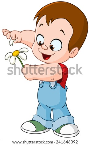 Little kid playing she loves me she loves me not with flower petals - stock vector