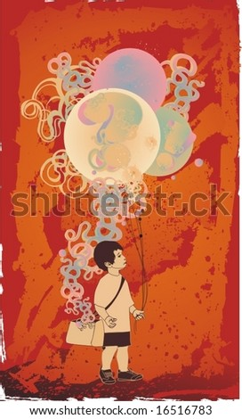 little kid  with  balloons,decorative elements abstract background,vector illustration - stock vector