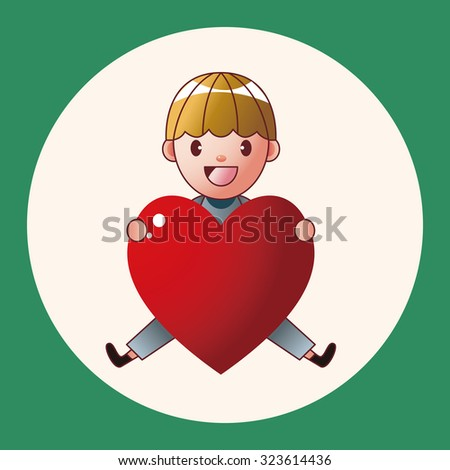 little kid with heart theme elements - stock vector